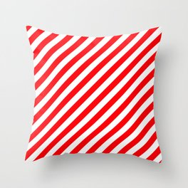 Christmas Red and White Candy Cane Stripes Throw Pillow