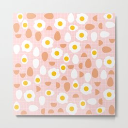Cute Eggs Pattern on Pink Background Metal Print