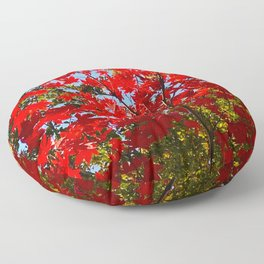 Canopy of Red Leaves Over Head - Seasonal Fall Photography Art Floor Pillow