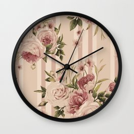 Flowers and Stripes Two Wall Clock