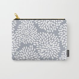 Grey and White Abstract Firework Flowers Carry-All Pouch