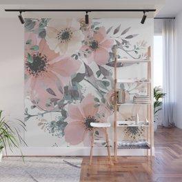 Peach Blush Watercolor Flowers Wall Mural
