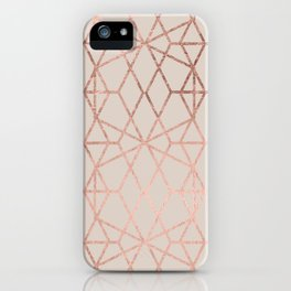 Modern rose gold geometric lines abstract pattern on taupe iPhone Case