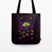 i want to believe Tote Bags featuring I WANT TO BELIEVE by badOdds