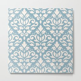 Scroll Damask Big Pattern Cream on Blue Metal Print