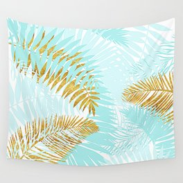Aloha - Tropical Palm Leaves and Gold Metal Foil Leaf Garden Wall Tapestry