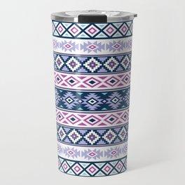 Aztec Stylized Pattern Blues Pinks Purples White Travel Mug
