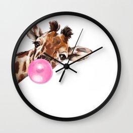 Bubble Gum Sneaky Giraffee Wall Clock