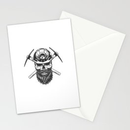 Bearded Mustached Miner Skull Stationery Cards