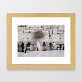 Praying at the Wailing Wall or Western Wall Framed Art Print
