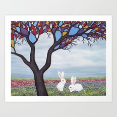 bunnies and the stained glass tree Art Print