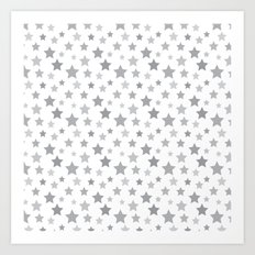 Stars gray Art Print