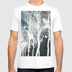Arbres aux papillons MEDIUM White Mens Fitted Tee