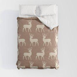 Mid Century Modern Deer Pattern Brown and Tan Comforters