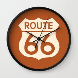 Travel USA sign of Route 66 label. American road icon. Wall Clock