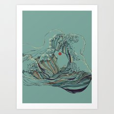 Kissing The Wave Art Print
