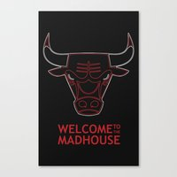 chicago bulls Canvas Prints featuring Madhouse Chicago Bulls by beejammerican