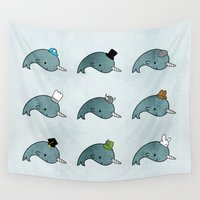 hats Wall Tapestries featuring The many hats of Narwhals by Hello Happy
