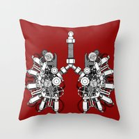 lungs Throw Pillows featuring lungs by khet13
