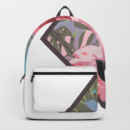Pastel Pink Flamingo Watercolor graphic Gift Hawaiian Style Backpack