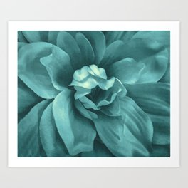 Soft Teal Flower Art Print