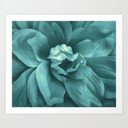 Soft Teal Flower Art Print