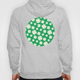 Off-White Four Leaf Clover Pattern with Green Background Hoody