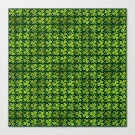 Irish Shamrock -Clover Green Glitter pattern Canvas Print