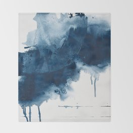 Where does the dance begin? A minimal abstract acrylic painting in blue and white by Alyssa Hamilton Throw Blanket