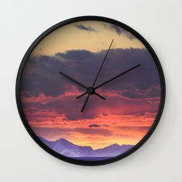Crazy Mountain Sunset Wall Clock