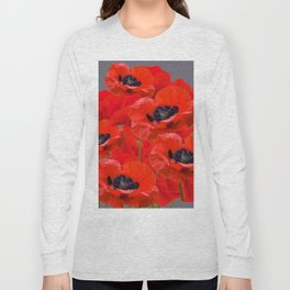 MONTAGE OF RED ORIENTAL POPPIES GREY COLOR ART Long Sleeve T-shirt