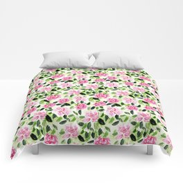 Pink and Green Garden Floral Pattern Comforters