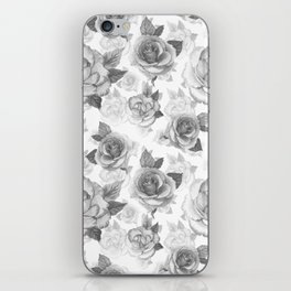Hand painted black white watercolor roses floral pattern iPhone Skin