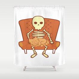 Cat Lover Kitten Feline Skull Skeleton Couch Gift Shower Curtain