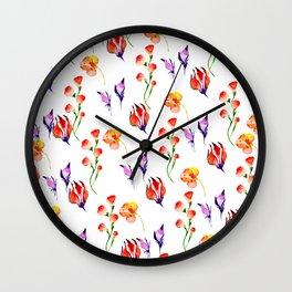 Modern hand painted pink orange purple watercolor hibiscus floral Wall Clock
