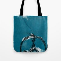sewing Tote Bags featuring sewing birds by frederic levy-hadida