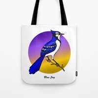 jay fleck Tote Bags featuring BLUE JAY by SCREAMNJIMMY