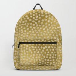 Merry christmas- white winter stars on gold pattern Backpack