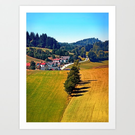 A village, some trees, and more boring scenery Art Print
