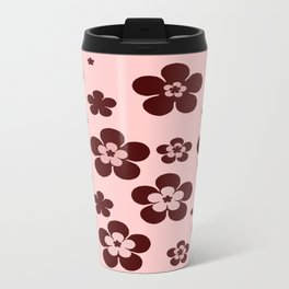 Pink with brown flowers Travel Mug