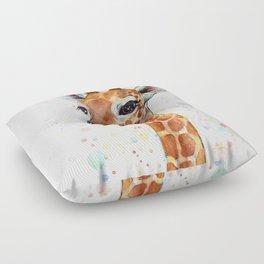 Giraffe Baby Animal Watercolor Whimsical Nursery Animals Floor Pillow