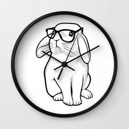 Cute Rabbit Bunny Nerd With Geek Glasses Wall Clock