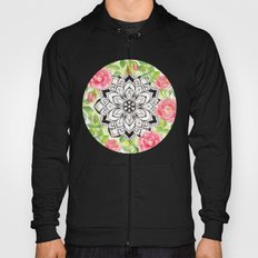 Peach Pink Roses and Mandalas on Lime Green and White Hoody