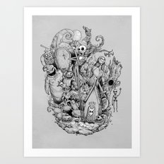 A nightmare in black and white Art Print