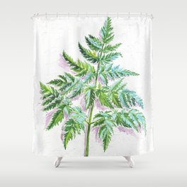 Fern leaf (watercolor on textured background) Shower Curtain