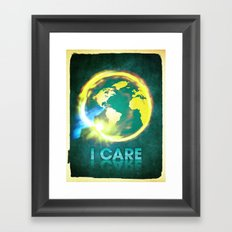 I Care / Blue Framed Art Print