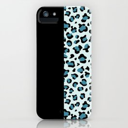 Animal Print, Leopard Spots - Blue Black iPhone Case