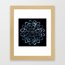 Ice Blue Floral Design Framed Art Print