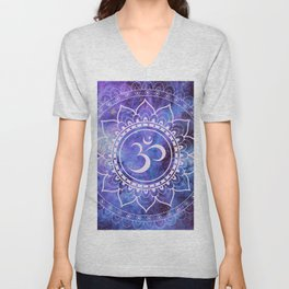 Om Mandala Purple Lavender Blue Galaxy Unisex V-Neck