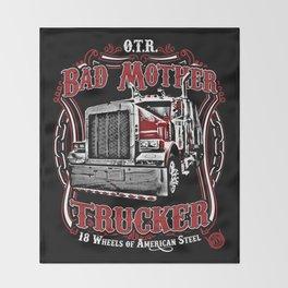 Bad Mother Trucker Throw Blanket